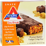 Atkins Crisp Bars, Day Break, Peanut Butter Fudge - 5 pack, 1.23 oz bars