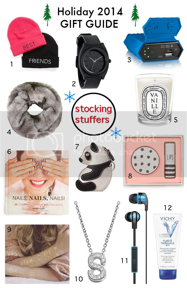 See 12 stylish stocking stuffers for him or her and other great gift ideas for holiday 2014 on The Key To Chic including a faux fur snood, initial pendant necklace, portable power bank, panda coin purse key chain, a black Nixon watch, and best friends beanies