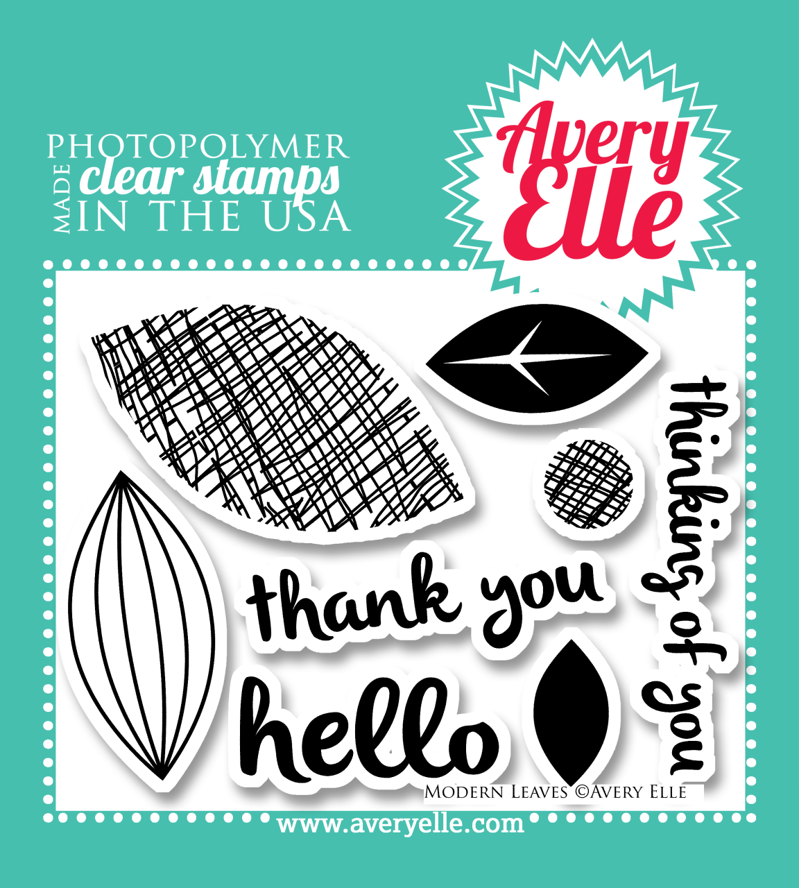 """Our 4"""" x 3"""" Modern Leaves clear photopolymer stamp set (designed by JJ Bolton) may be small in size, but is a versatile and classic set.  Stamp the """"leaves"""" to make flower petals, leaf images, a retro background and more.  Consider using our coordinating Modern Leaves dies to create professional results."""
