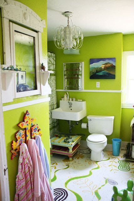 Contemporary Kids Bathroom with Hickory Manor House Beadboard Mirror, Concrete floors, Chandelier, Chair rail, Pedestal sink