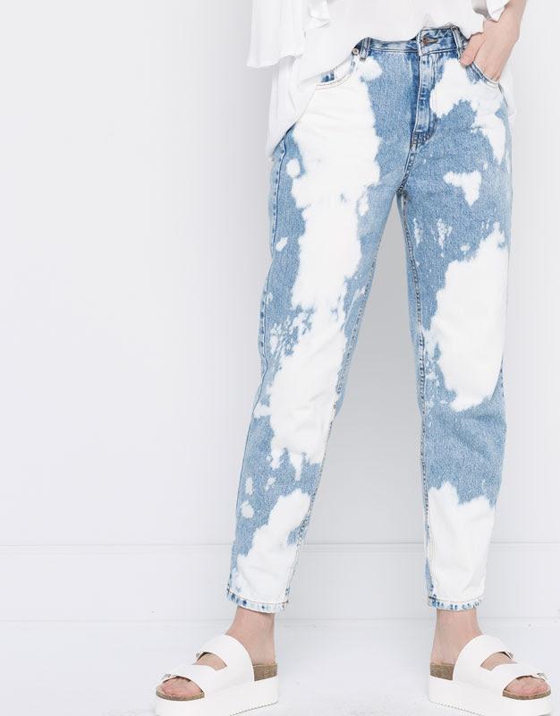 Pull&Bear - denim - jeans - jeans mom fit tiro alto - azul clar - 05683305-V2016
