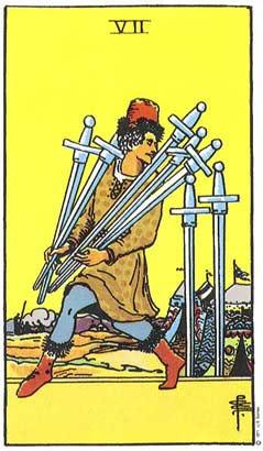 Sete de espadas  no Tarô Rider-Waite-Smith