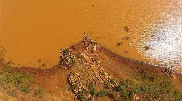 Brown and murky water at Kiambere Lake caused by erosion