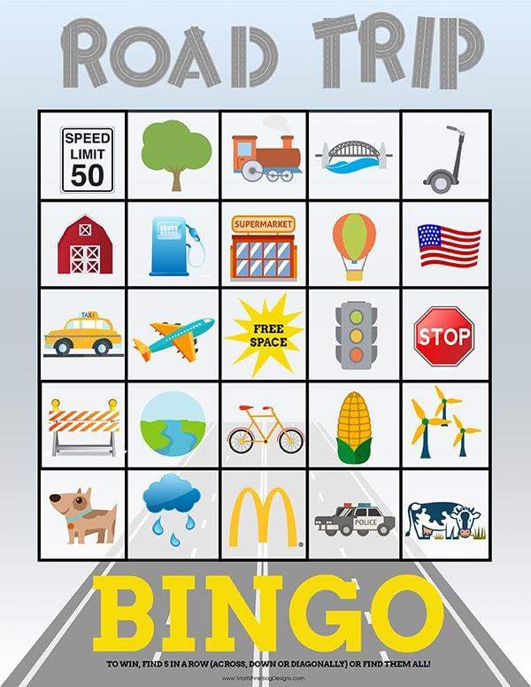 Travel Bingo Cards for Kids