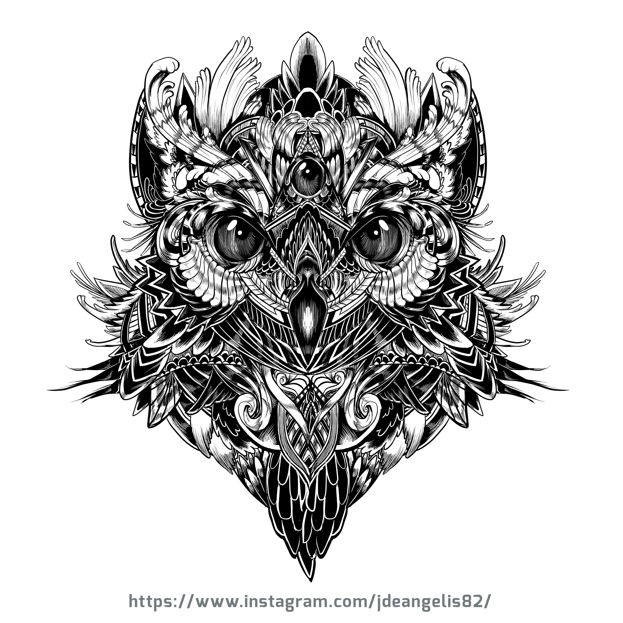 Black And White Owl Design