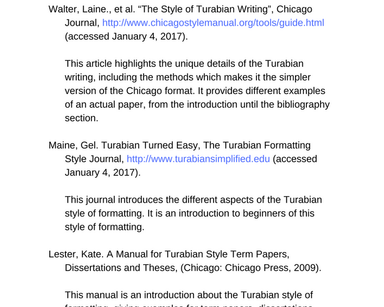 Turabian Citation Quick Guide Page