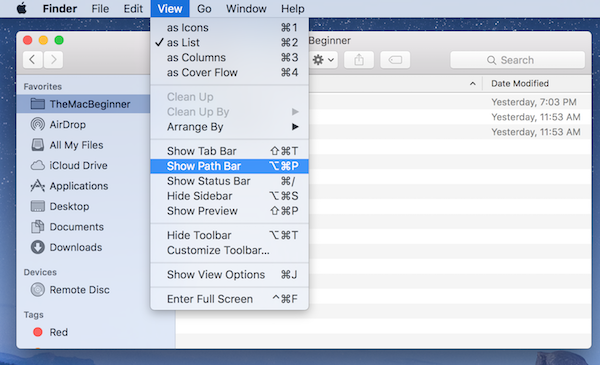 How to show Path to a Folder / File in Finder