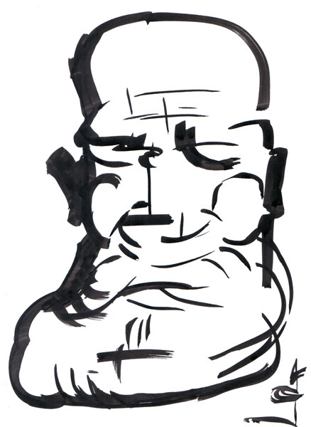 Old man #7 ink drawing by Gregory Avoyan