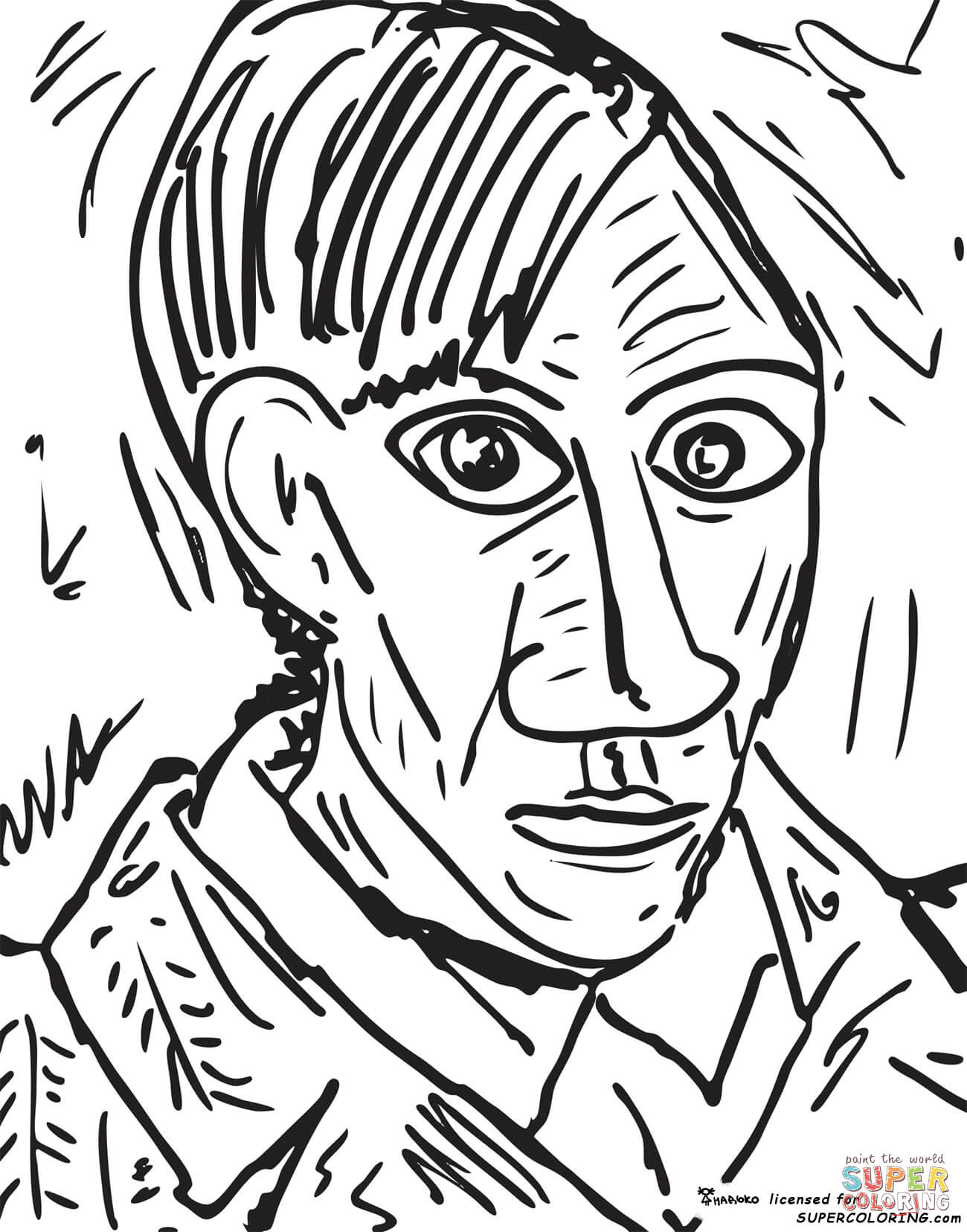 Download Self Portrait 1907 By Pablo Picasso coloring page | Free Printable Coloring Pages