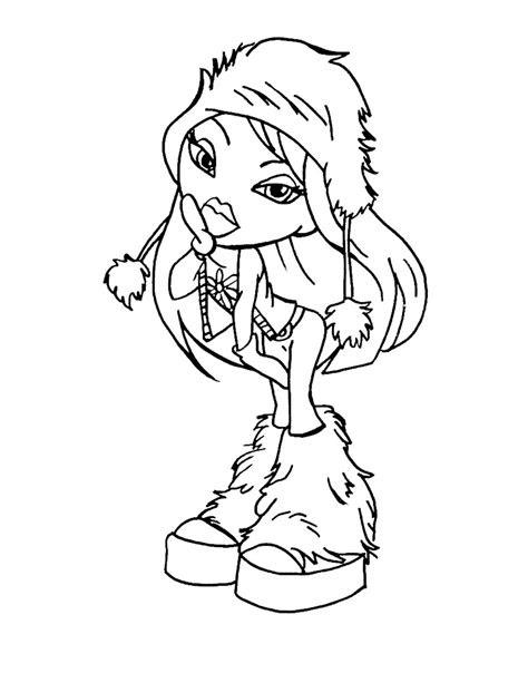 winter season bratz printables coloring pages