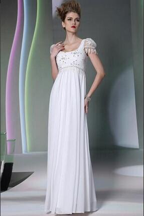 White evening dress designer