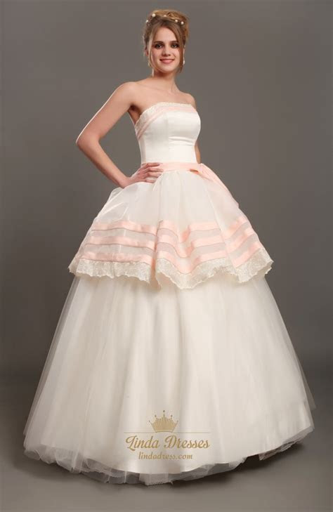 Ivory And Pink Strapless Ball Gown Tulle Wedding Dress