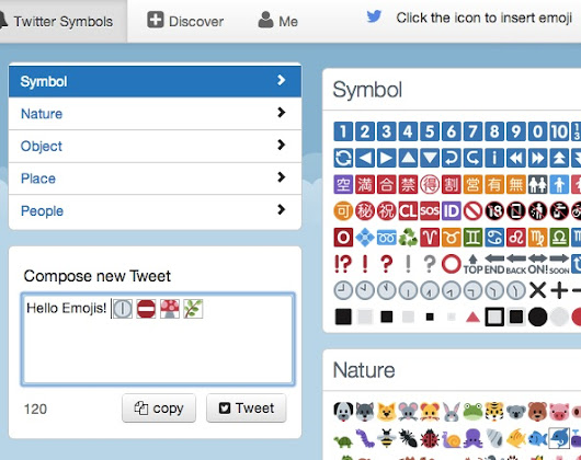 Twitter Symbols: smiley, emoji and emoticons