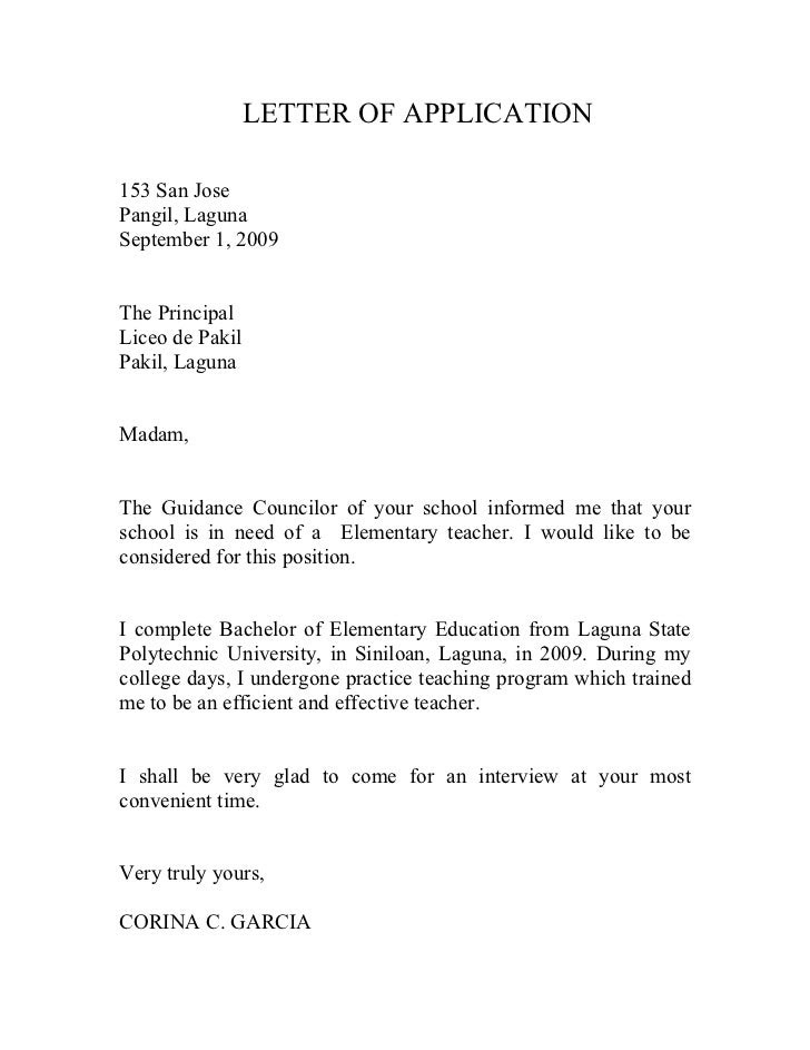 Letter Of Application: Write An Application For Teaching
