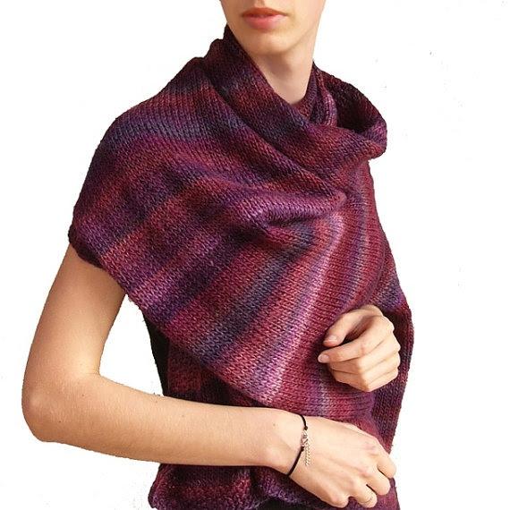 plum  / shawl wrap scarf violet autumn winter christmas fall big huge grey elegant impressive gift fashion warm cozy hand knitted wool. zł223.00, via Etsy.