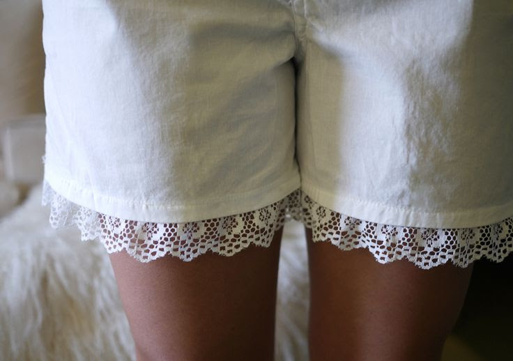 white boxers + lace trimming= perfect to go under dresses/skirts!