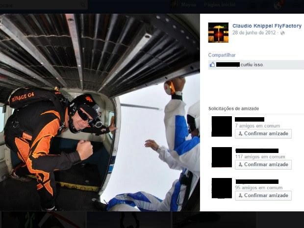 Paraquedista morreu em acidente em queda livre nesta sexta em Boituva (Foto: Reprodução/ Facebook)
