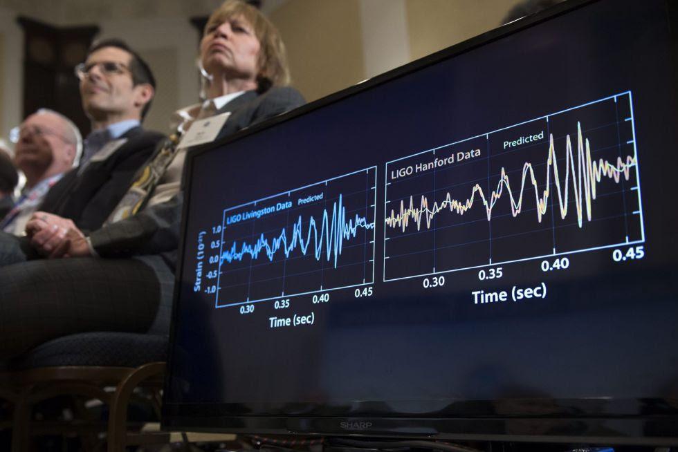 Vista de los gráficos de datos del proyecto LIGO durante la rueda de prensa sobre la demostración de la existencia de las ondas gravitacionales en Washington DC