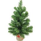 "Northlight 18"" Mini Pine Artificial Christmas Tree in Burlap Base - Unlit"