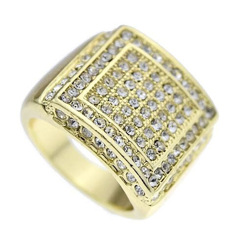 Iced Out Double Square Ring   Iced Out Rings