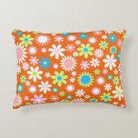 Orange Flower Power Accent Pillow