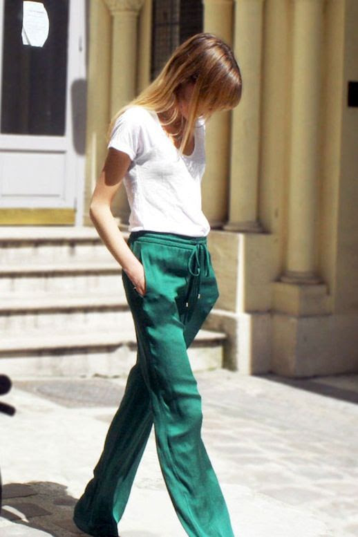 Le Fashion Blog Sporty Style White Tee Shirt Green Track Pants Via Zara