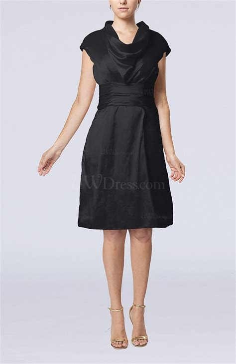 Black Modern Jewel Short Sleeve Taffeta Knee Length