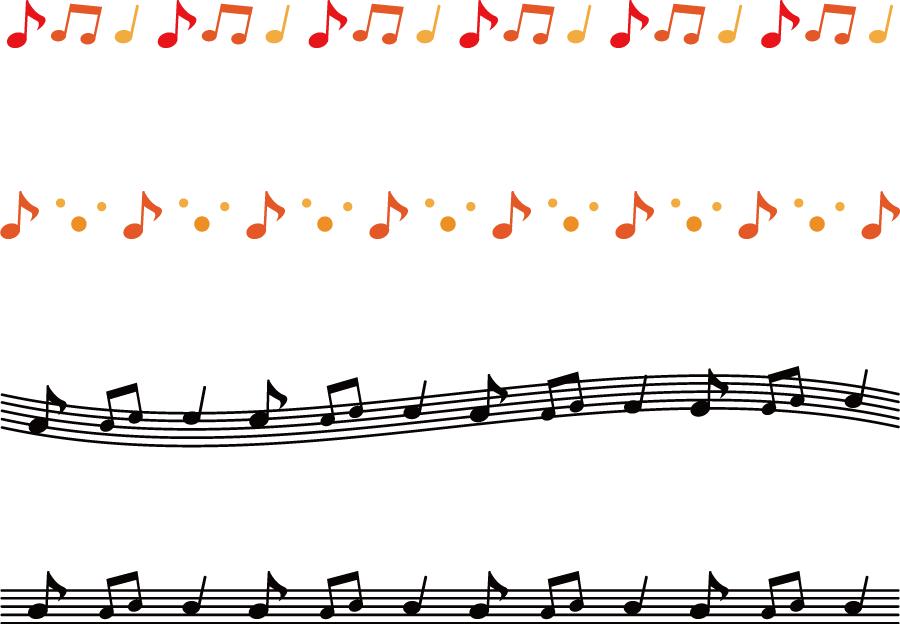 フリーイラスト 4本の音符のラインのセットでアハ体験 Gahag 著作権