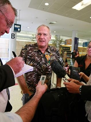 Former Fiji Times general manager Rex Gardner at Sydney Airport in 2009 after having been