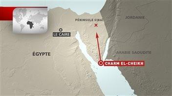 Lieu approximatif de l'écrasement de l'avion russe dans le Sinaï égyptien