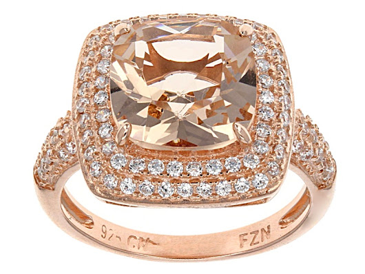 Bella Luce® 4.10ctw Morganite Simulant & Diamond Simulant Eterno™ Rose Ring