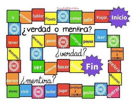 verdad  mentira juegos de lenguaje verbos en espanol