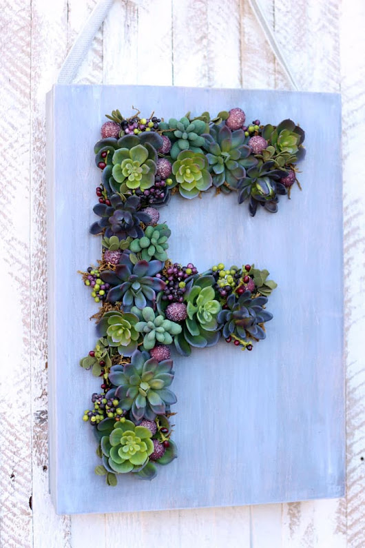 Monogram Faux Succulent Wreath - FYNES DESIGNS