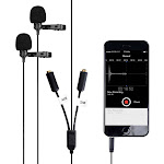 Dual Lavalier Microphone | Movo PM20-S Clip-on Interview Microphones