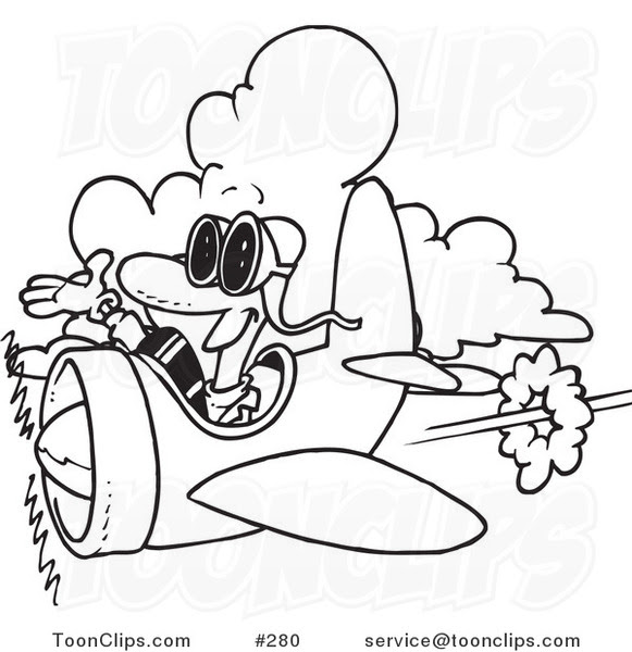 cartoon coloring page line art of a happy pilot by ron leishman 280