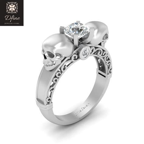 925 Sterling Silver Diamond Skull Ring Womens Cheap Price