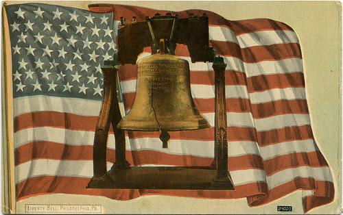 Postcard: Liberty Bell & Old Glory