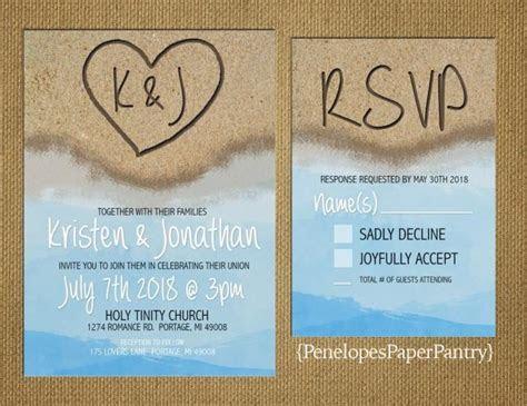 Destination Beach Wedding Invitation,Heart In The Sand