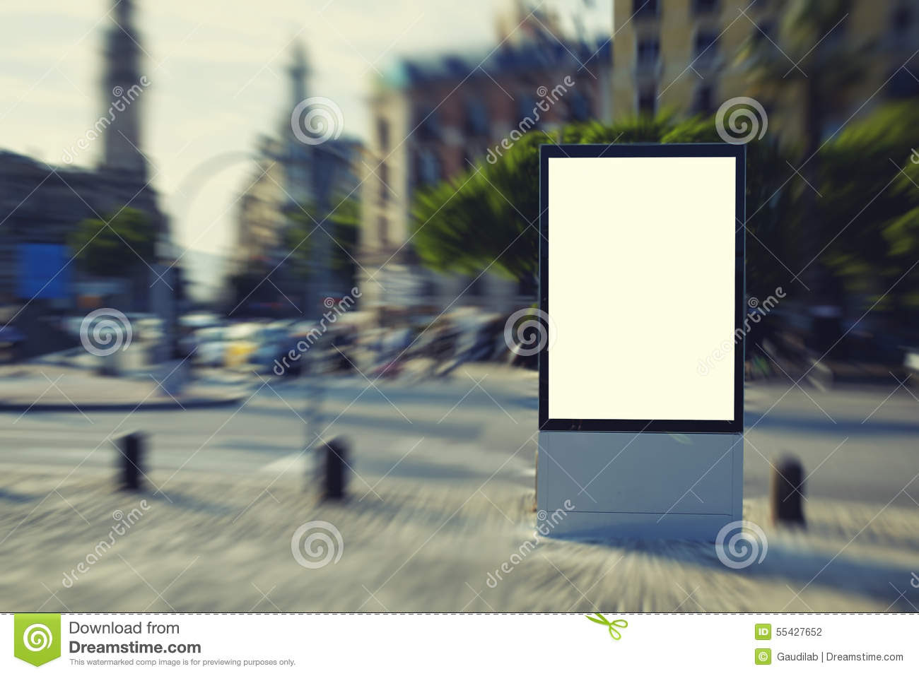 Advertising Billboard Stands On The Town Square Stock Photo ...