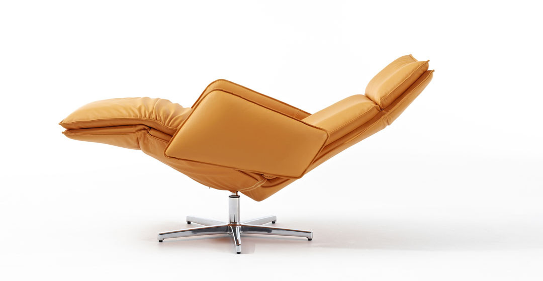 Orange swivel recliner with armrest and stainless steel base
