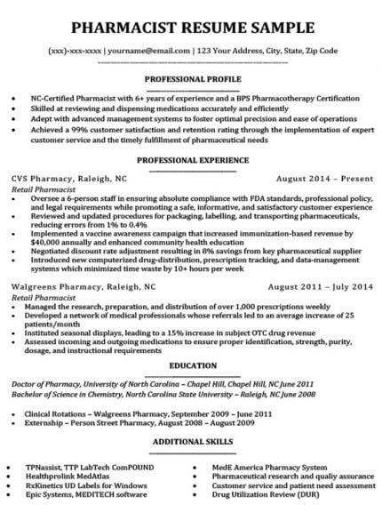 resume format for pharmacist