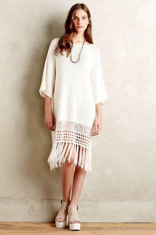Le Fashion Blog Incredibly Stylish White Dresses With Fringe Hem Moth Fringed Sweater Dress Vacation Summer Style