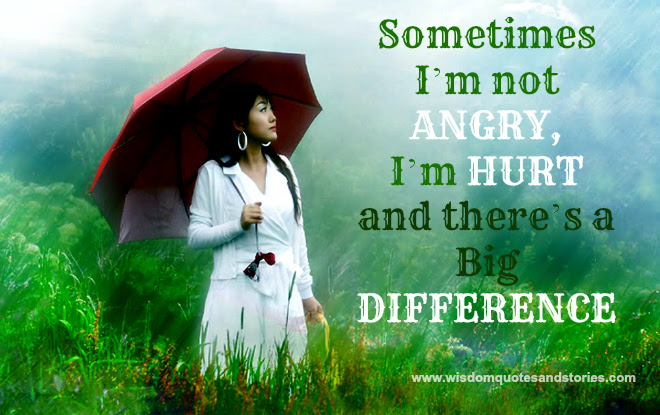 Big Difference Between Being Angry And Being Hurt Wisdom Quotes