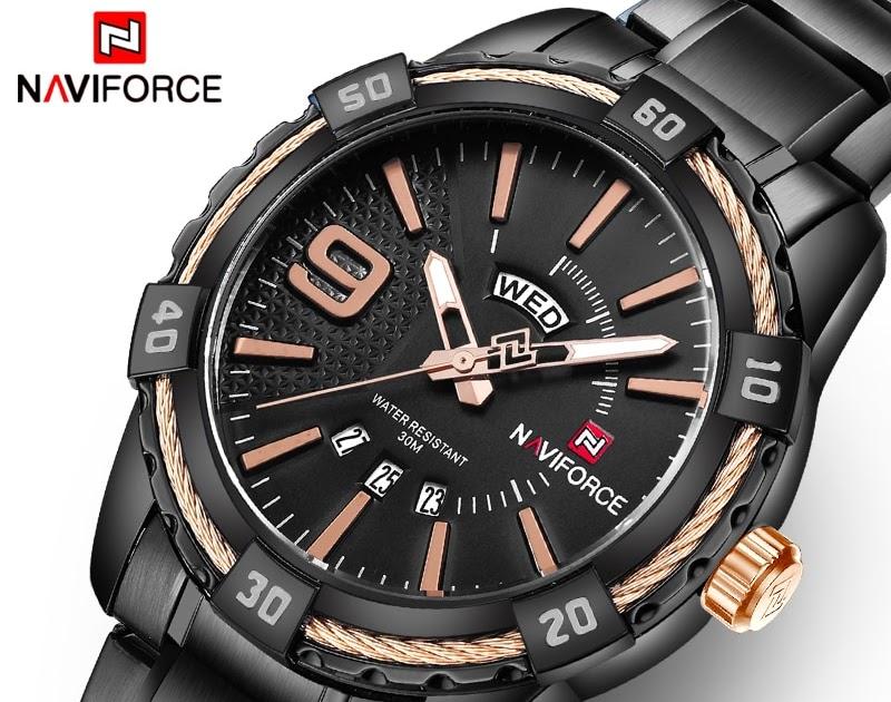 cd642f34c091 Comprar Relojes Deportivos De Marca Lujo NAVIFORCE Para Hombre Cuarzo 30 M  A Prueba Agua Pulsera Militares Con Fecha Automática Acero Inoxidable  Online ...