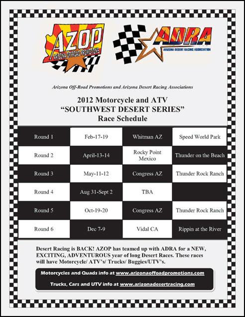 2012 ADRA ATV Desert Racing Season Schedule Announced ...