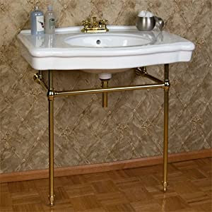 Pennington Console Sink with Brass Stand - Biscuit Basin - 4 ...