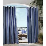 "Plow & Hearth UV-Resistant Outdoor 50"" W x 84""L Grommet-Top Curtain - Blue Stripe"