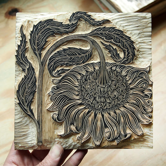 "NEW! ""BOWING FLOWER"" Woodcut!"