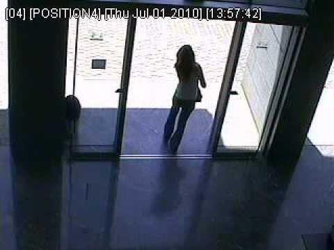 Fail Girl Tries To Walk Through Glass Door