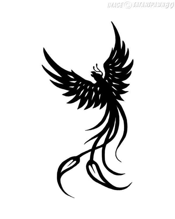 Black Ink Tribal Phoenix Tattoo Design